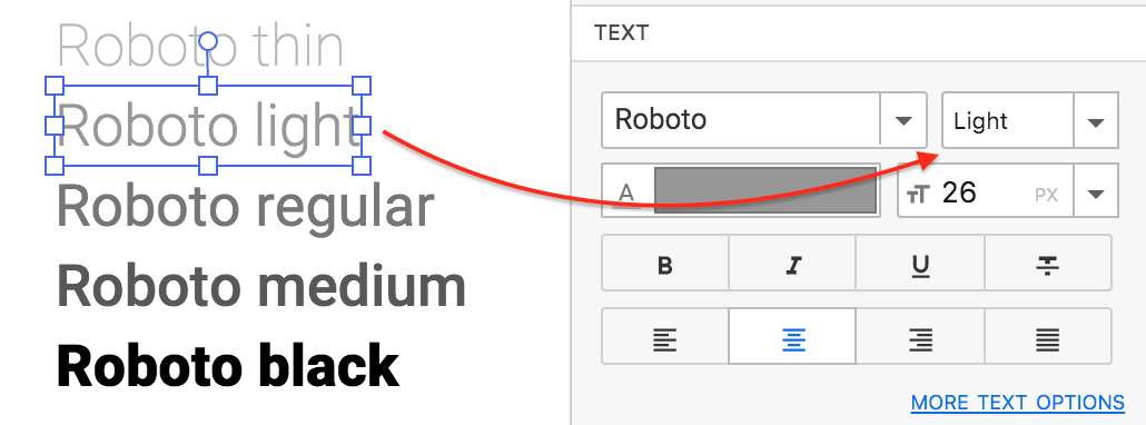 Font weights support in Moqups 2