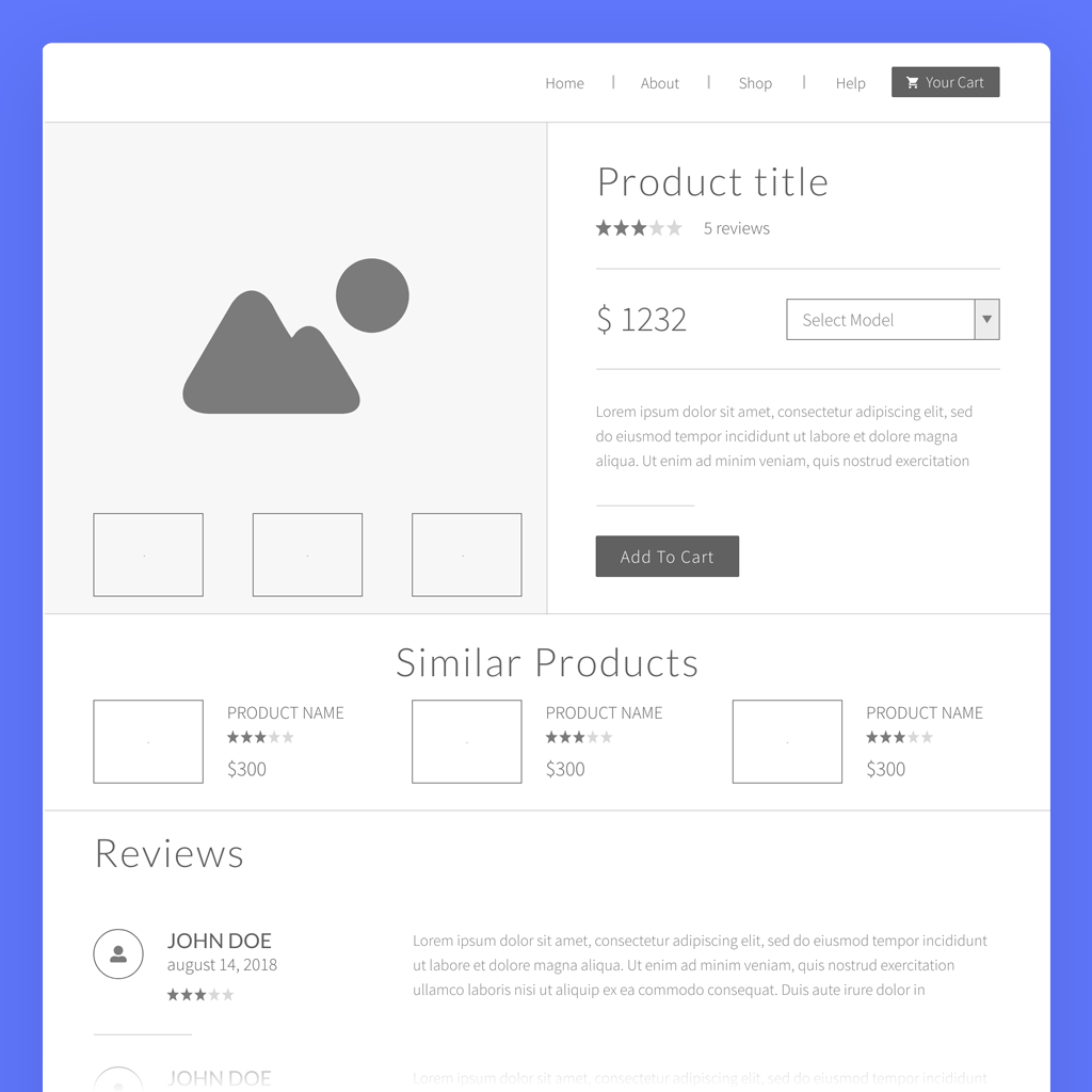 product page wireframe template