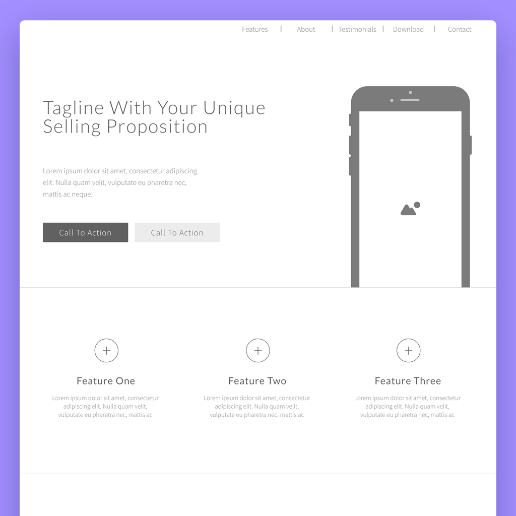 landing page wireframe template