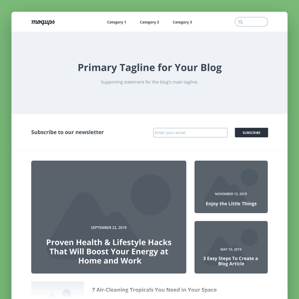 Blog Page Wireframe Template