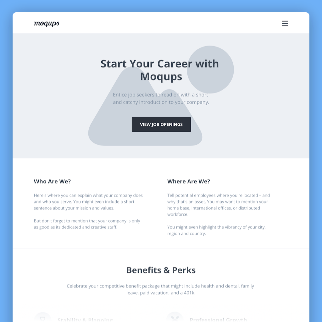 Career Page Wireframe Template
