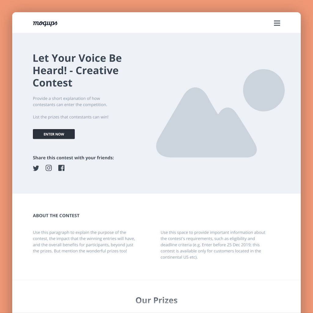 contest landing page wireframe template