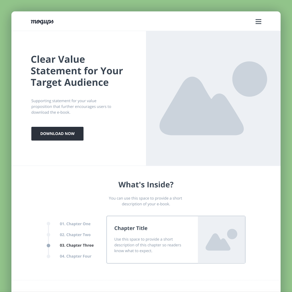 ebook landing page wireframe template