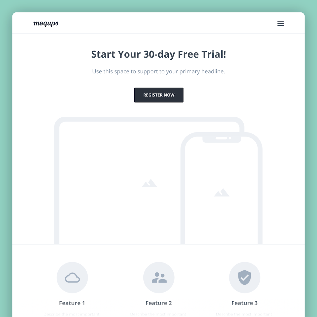 Free Trial Landing Page Wireframe Template