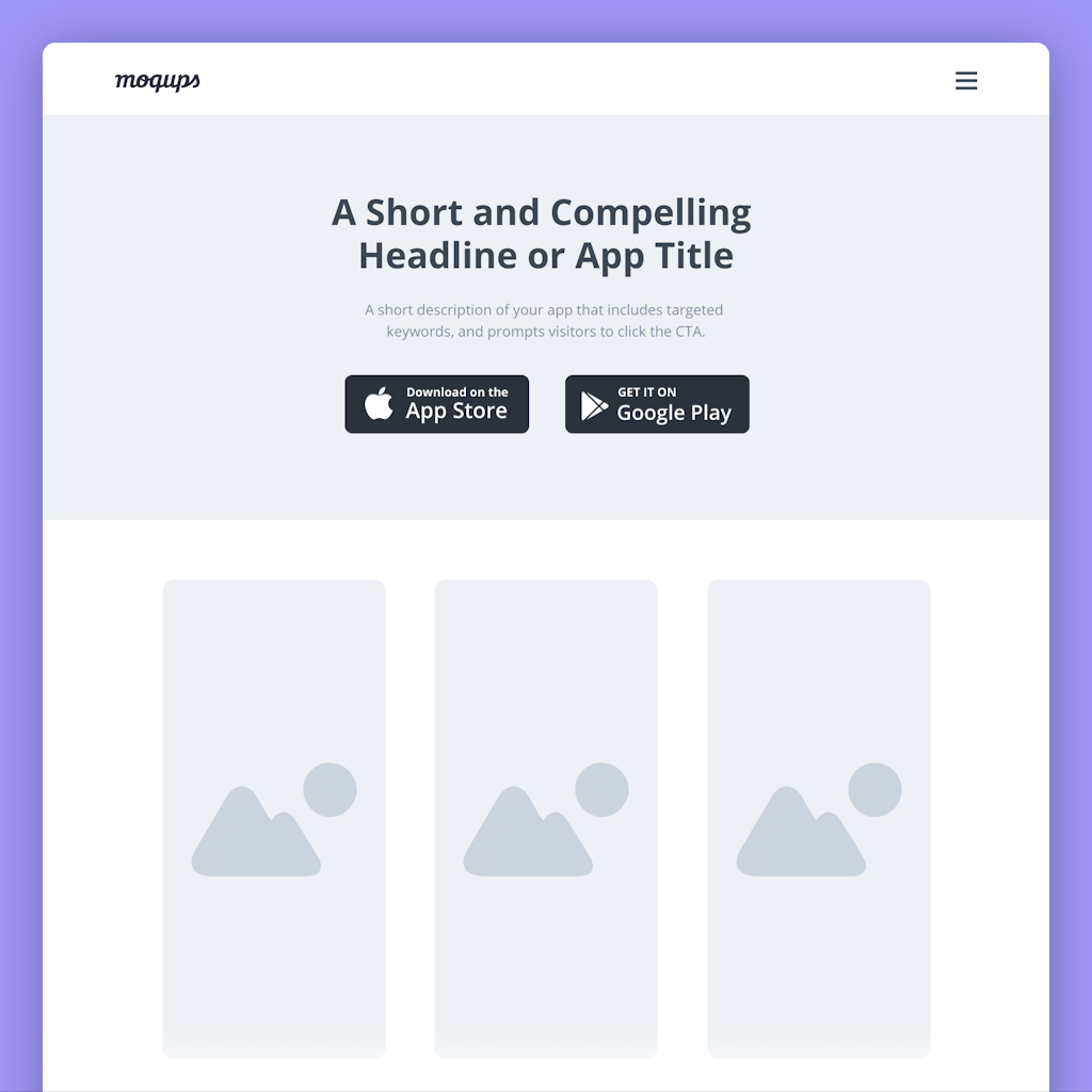 Mobile App Landing Page Wireframe Template