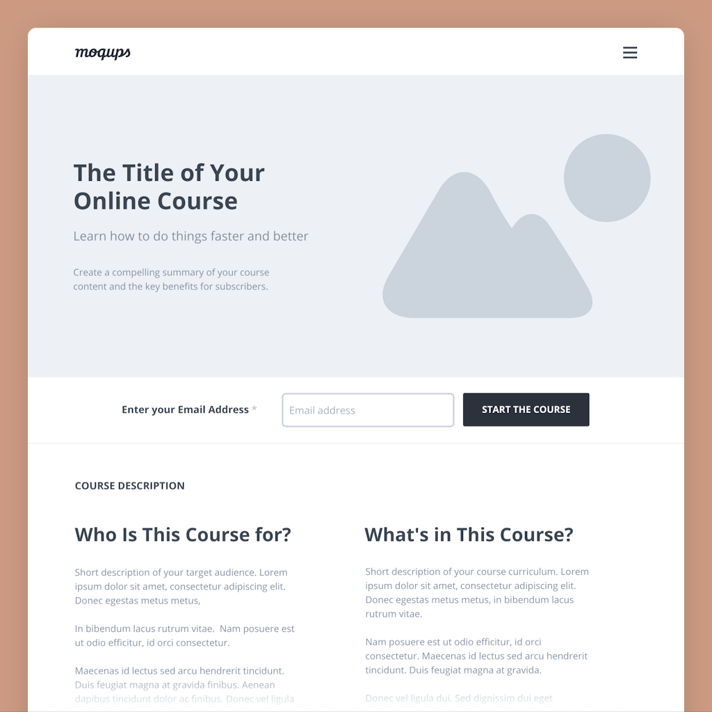 online course landing page wireframe template