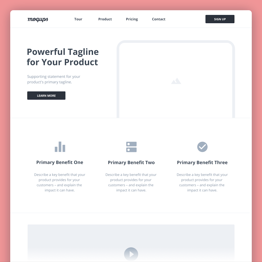 SaaS Landing Page Wireframe Template