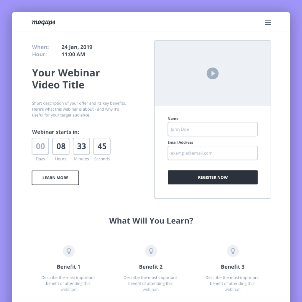webinar landing page wireframe template