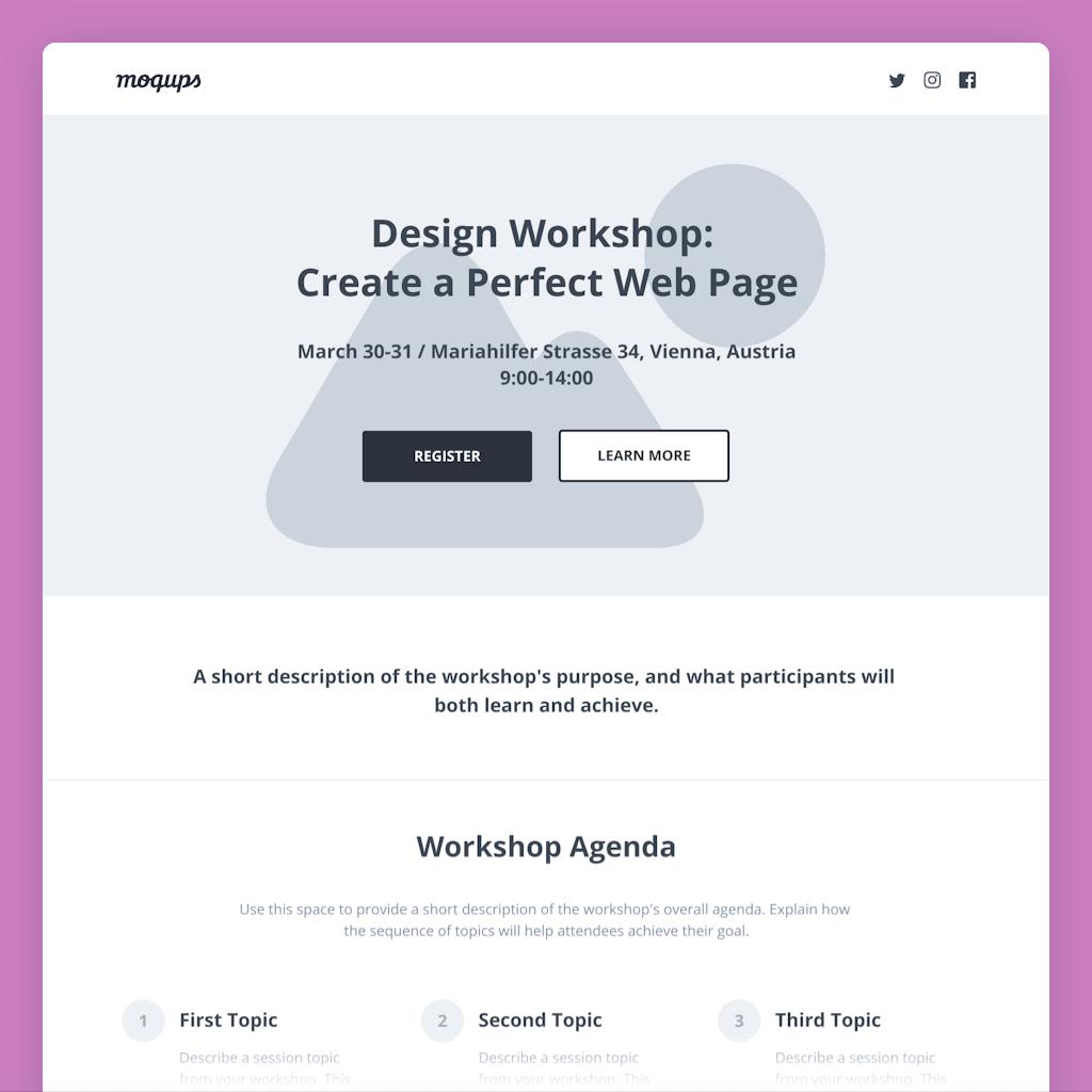 workshop landing page wireframe template
