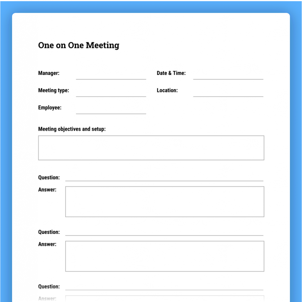 one-on-one meeting template