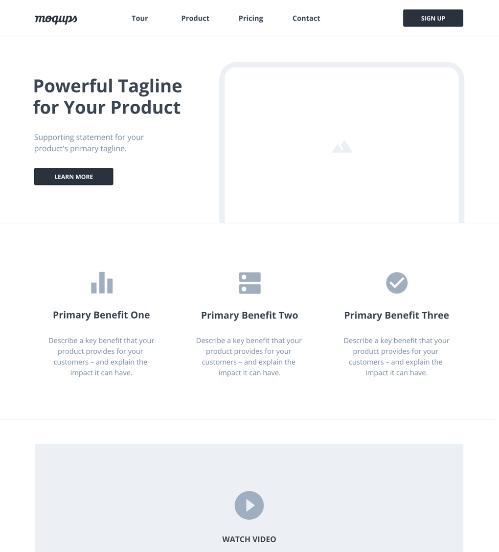 Modello wireframe landing page SaaS